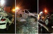 خسارت شدید به خودروها در ریزش کوه جاده چالوس