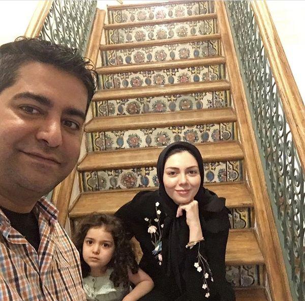 آزاده نامداری در کنار همسر و دخترش + عکس