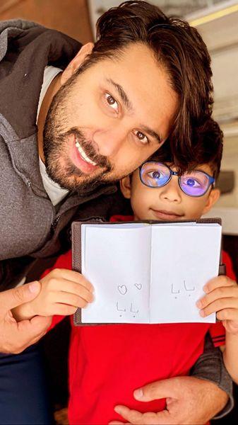 احسان خواجه امیری و پسرش + عکس