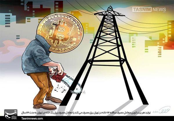 هر بیتکوین معادل مصرف برق یک خانه در تهران به مدت ۲۴ سال!