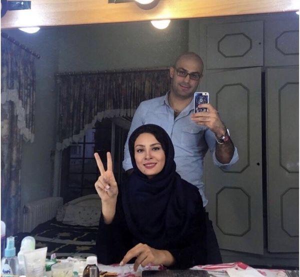 عکس حدیثه تهرانی و همسرش در پشت صحنه
