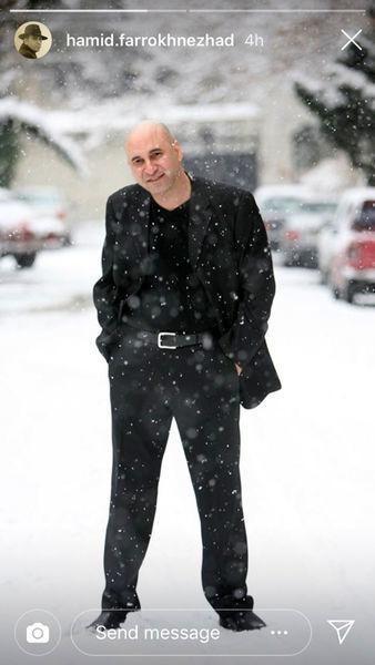 استایل حمید فرخ نژاد در میان برف + عکس