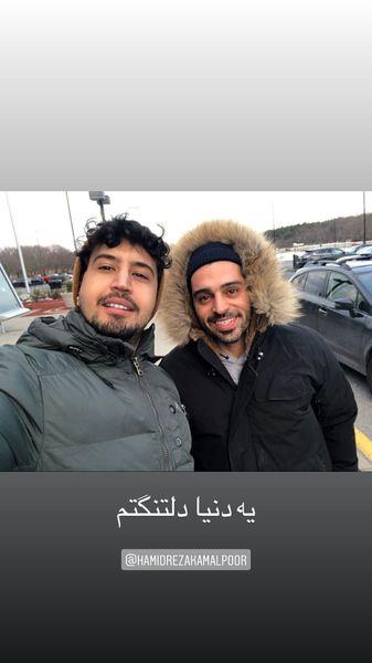 مهرداد صدیقیان و دوستش در روزهای سرد + عکس
