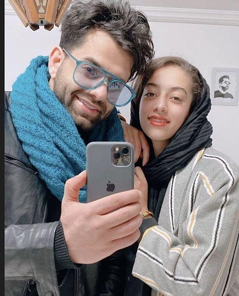 سلفی رضا بهرام با خواهرش + عکس