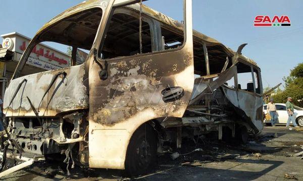 انفجار اتوبوس نظامی در دمشق + عکس