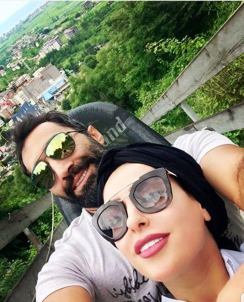 سورتمه سواری سمانه پاکدل و همسرش+عکس