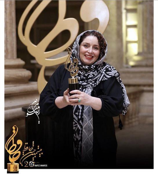 ژاله صامتی برنده تندیس حافظ بهترین بازیگر زن سینما + عکس