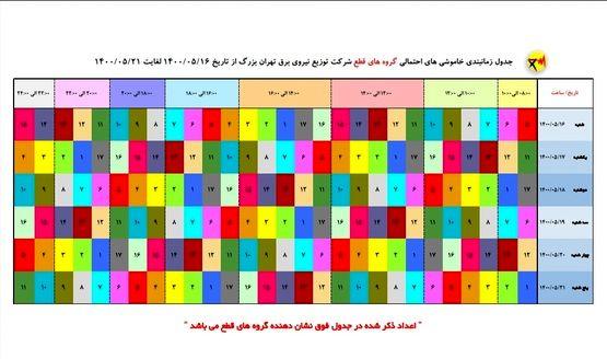 جدول احتمالی قطعی برق تهران از ۱۶ تا ۲۱ مرداد ۱۴۰۰