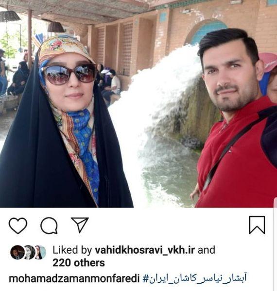 مژده خنجری و همسرش در کنار آبشار معروف + عکس