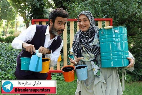 عکس نیما فلاح و همسرش با گلدان هایشان