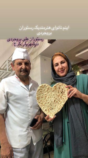 نان پر از عشق فاطمه گودرزی در یک رستوران + عکس