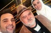 اکبر عبدی و دخترش در کنار مجری چشم رنگی محبوب+عکس