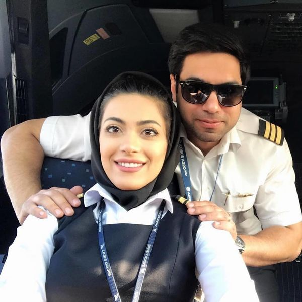 عکس اولین خلبان زن ایرانی و همسرش