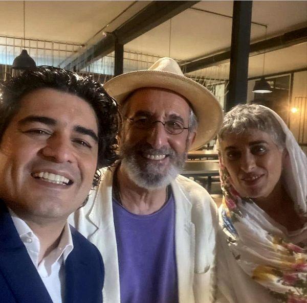فرهاد آئیش و همسرش در کنار سامان احتشامی + عکس