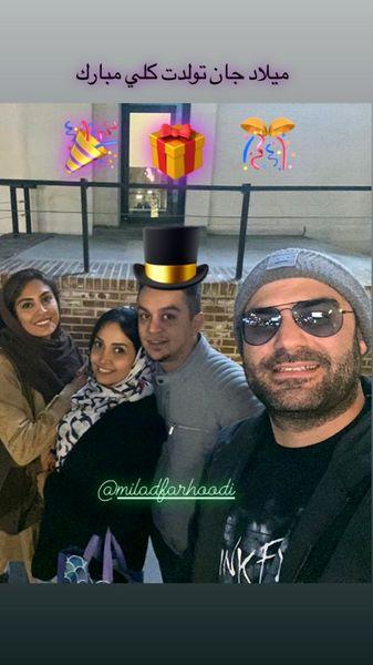 حدیثه تهرانی وهمسرش در تولد دوستشان + عکس