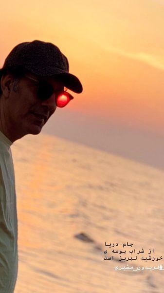 عکس بهنام تشکر در غروب زیبای دریا