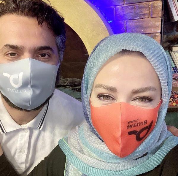 لبخند های پشت ماسک بهاره رهنما وهمسرش + عکس