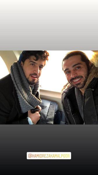 سلفی مهرداد صدقیان و دوستش در هواپیما + عکس