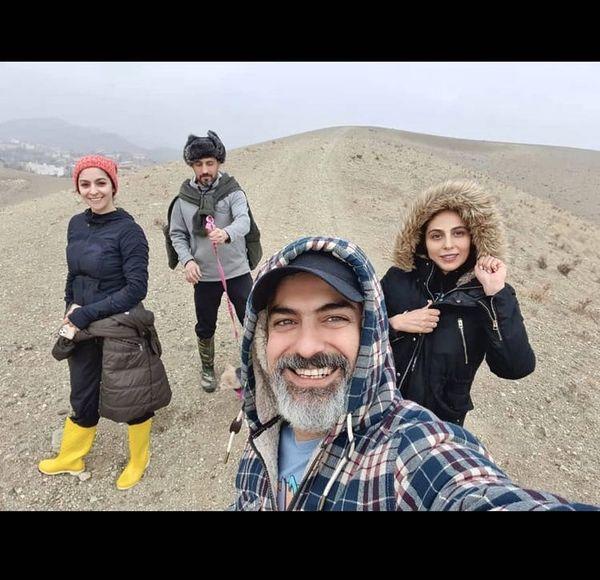 عکس دسته جمعی مارل بنی آدم با مهدی پاکدل و همسرش + عکس