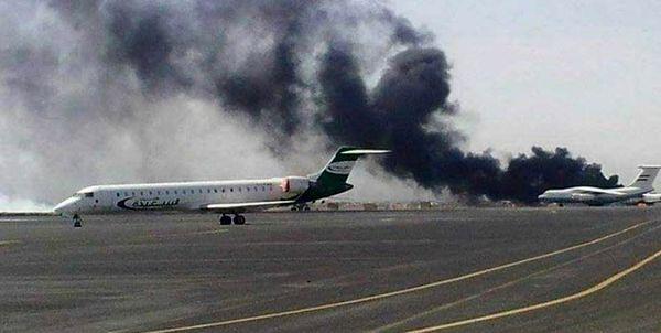 حمله جنگندههای ائتلاف سعودی به فرودگاه صنعاء
