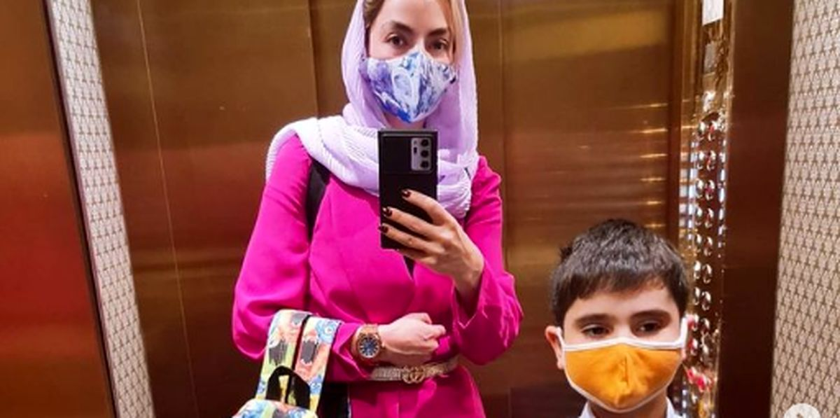 سپیده خداوردی و پسرش در آسانسور + عکس