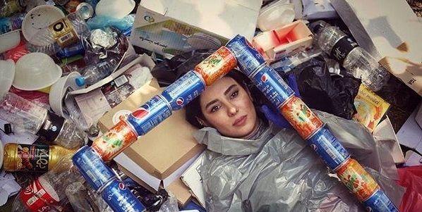 عکس عجیب شیدا یوسفی با زباله ها