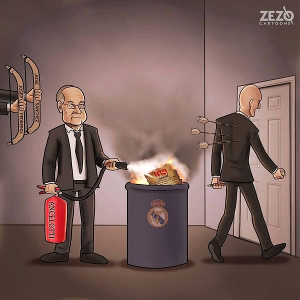 لحظه خروج زیدان از مادرید را ببینید!+ کاریکاتور