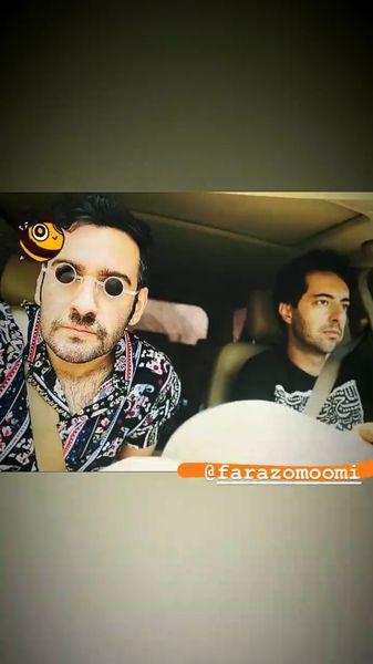 سلفی نیما شعباننژاد با دوستش در ماشین + عکی