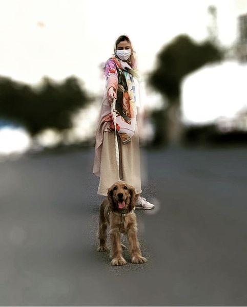 ماهور الوند و سگش در گردش + عکس