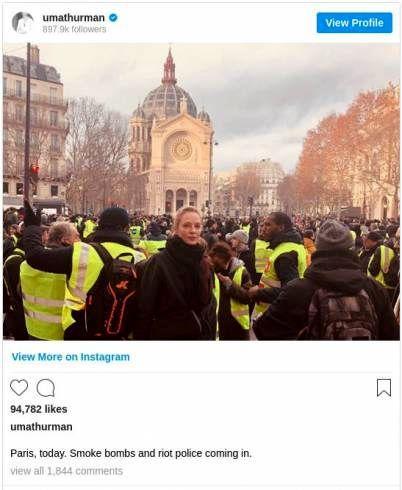 ستاره هالیوود در تظاهرات پاریس