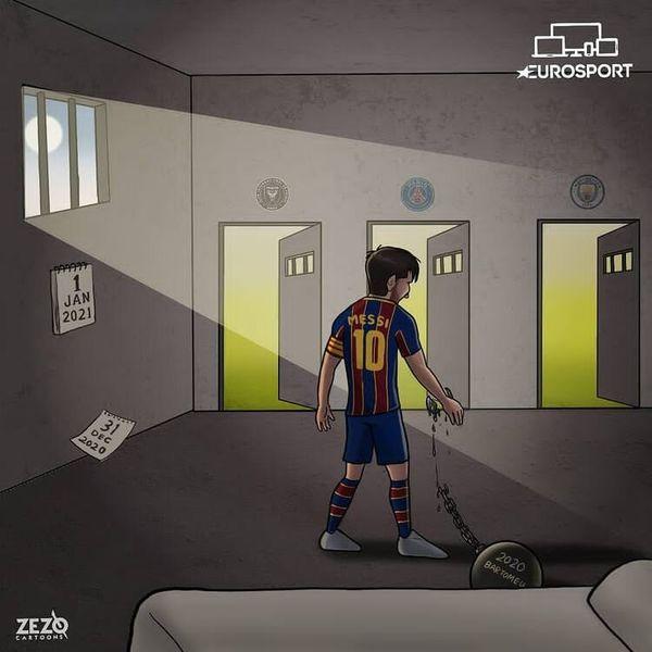 زمان خداحافظی مسی از آرژانتین!/ کاریکاتور