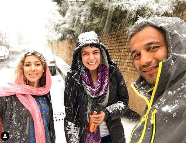 خوشحالی الیکا عبدالرزاقی از برف زیاد تهران+عکس