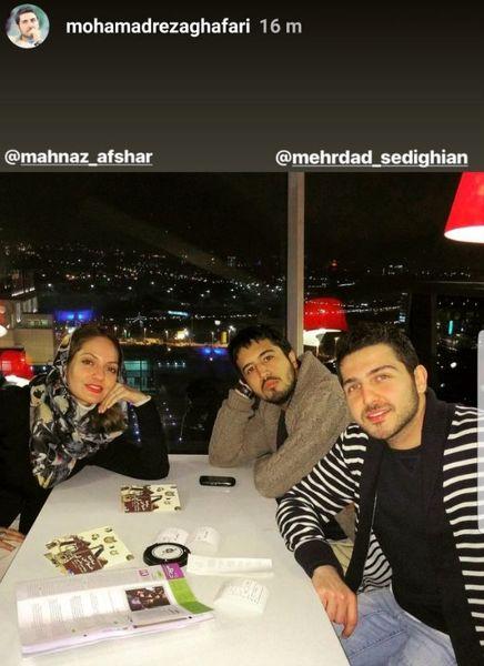 عکس دیدار مهناز افشار با دو بازیگر مرد بعد از بازگشت به ایران