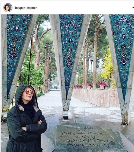 افسانه بایگان در آرامگاه شاعر مشهور + عکس