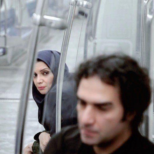 رضا یزدانی و الهام پاوه نژاد در مترو + عکس