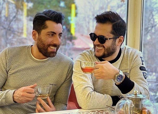 خوش و بش سیاوش خیرابی و دوستش در یککافه + عکس